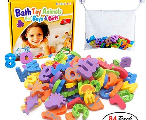Kids Bath Toys w/ Mesh Organizer Bag – Pack of 84 pcs- Baby Educational Bathroom Alphabet Toys Doopo – Non-toxic EVA Letters Sea Animals Numbers