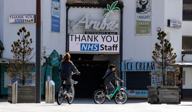 A message thanking the National Health Service staff is shown on a screen at Bournemouth