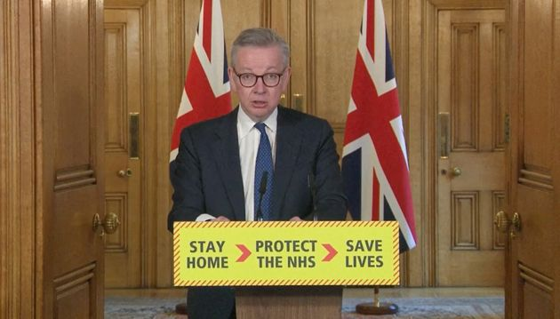 Cabinet Office minister Michael Gove during a coronavirus briefing in Downing
