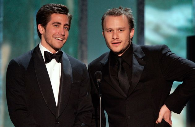 Jake Gyllenhaal and Heath Ledger speak onstage during the Screen Actors Guild Awards in
